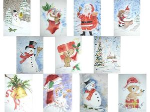 Christmas cards watercolor -14x19cm