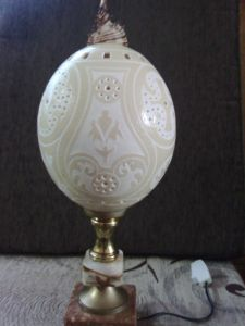 Decorative lamp made out carved ostrich egg #5