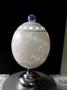 Decorative lamp made out of carved ostrich egg #3