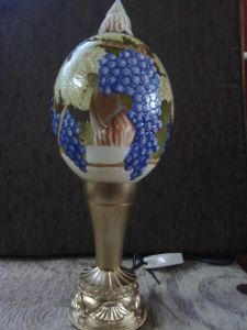 Decorative lamp made out of carved ostrich egg #4