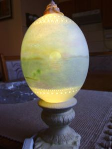 Decorative lamp made out of ostrich egg #7