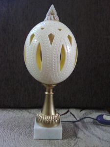 Deocrative lamp made out of carved ostrich egg #6