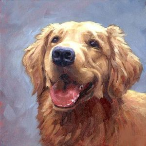 Dog with a rose - oil on canvas