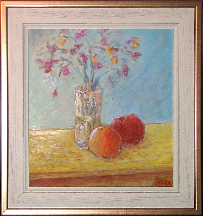 Fruits and Flowers on Yellow Table