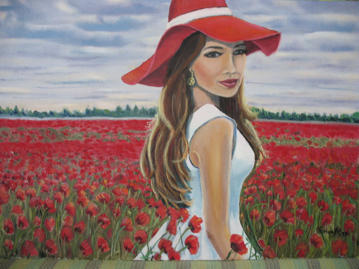 girl in field of poppies