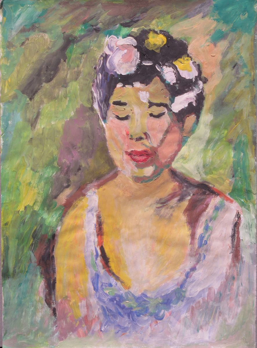 girl with flower in her hair