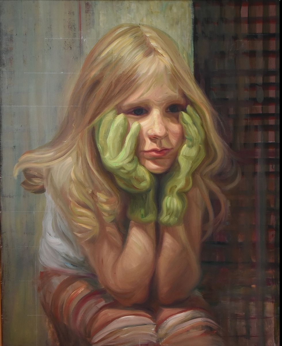 Girl with green gloves