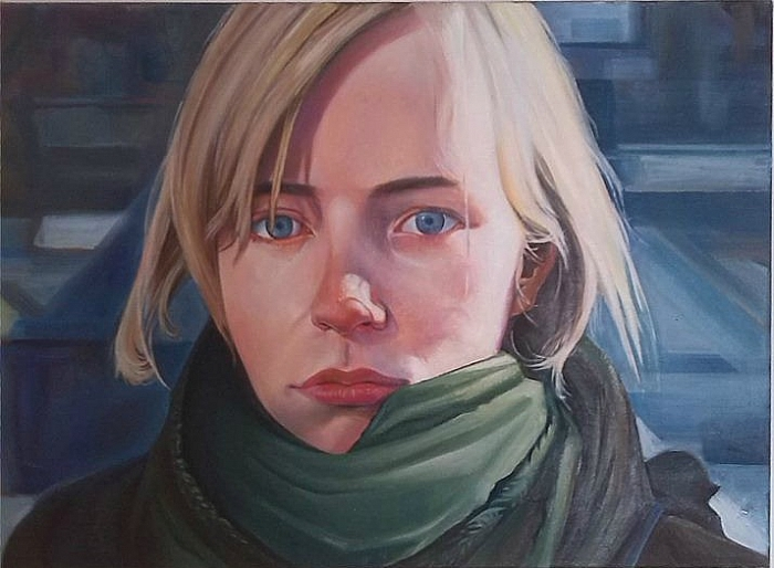 Girl with green scarf