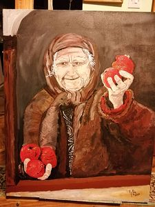 Grandma with apples