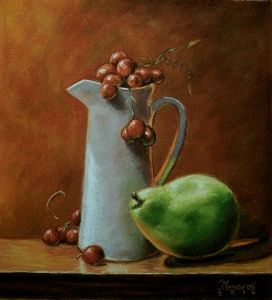 Green pear and grapes