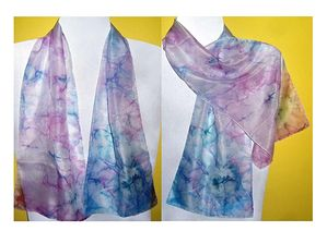Hand-painted silk wrap scarf Unikat-3