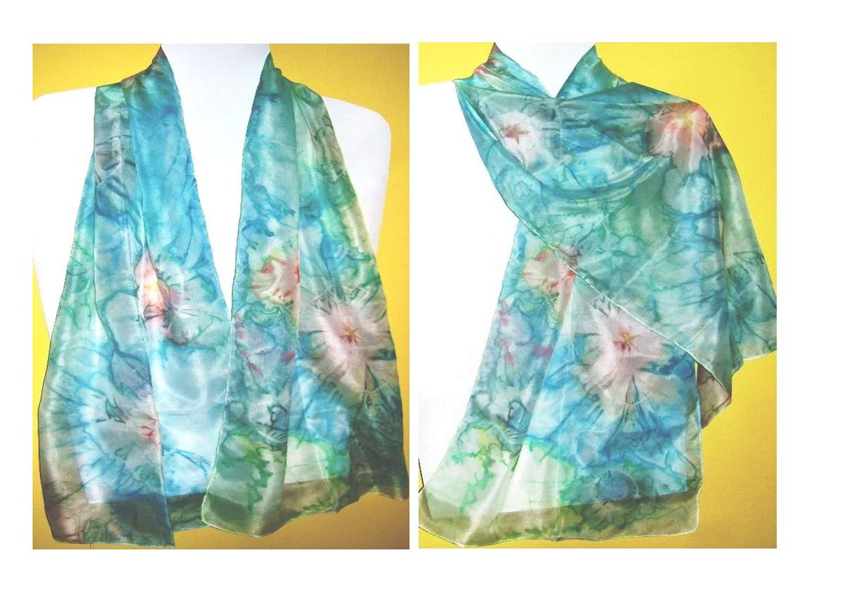 Hand-painted silk wrap scarf Unikat-5