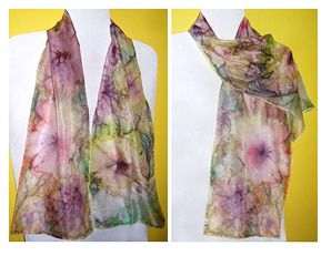 Hand-painted silk wrap scarf Unikat2