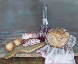 Homemade meal- oil on canvas, 45x55cm
