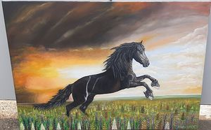 Horse in nature   Oil on canvas   100x70 cm