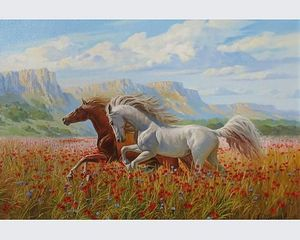 Horses in nature | Oil on canvas | 70x50 cm