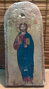 Icon of Isus on roof tile