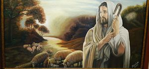Jesus and the sheep | 70x50 | oil on canvas