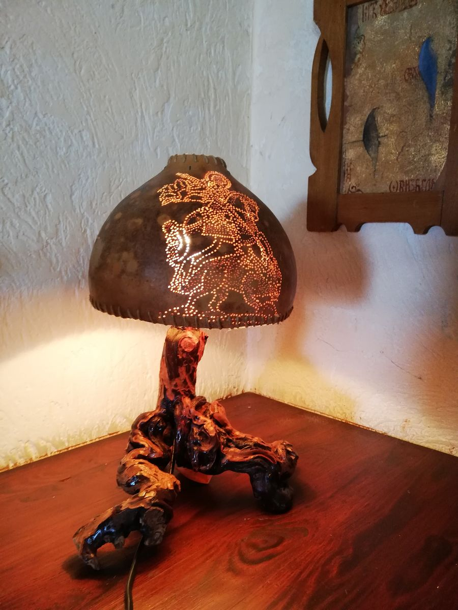 Lamp with motif `St. George kills a dragon`
