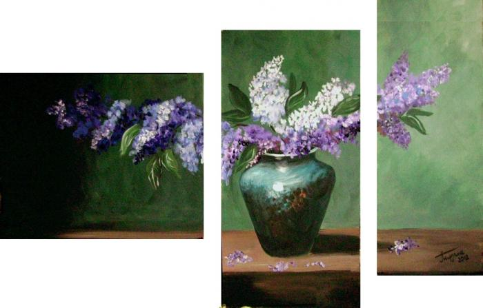 Lilac in a vase-decorative painting