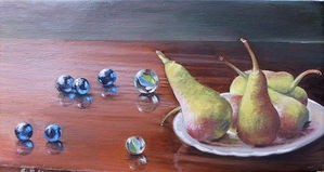 Marbles and pears- oil on canvas 20x35cm