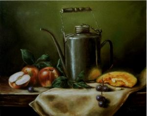 Metal Kettle with apples ...