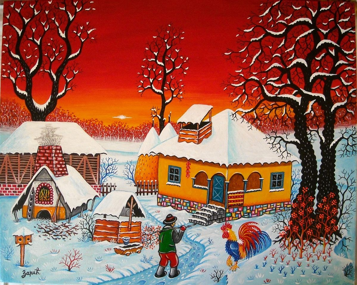 Naive art, Christmas in Serbia