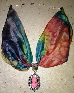 Necklace_ Hand painted silk