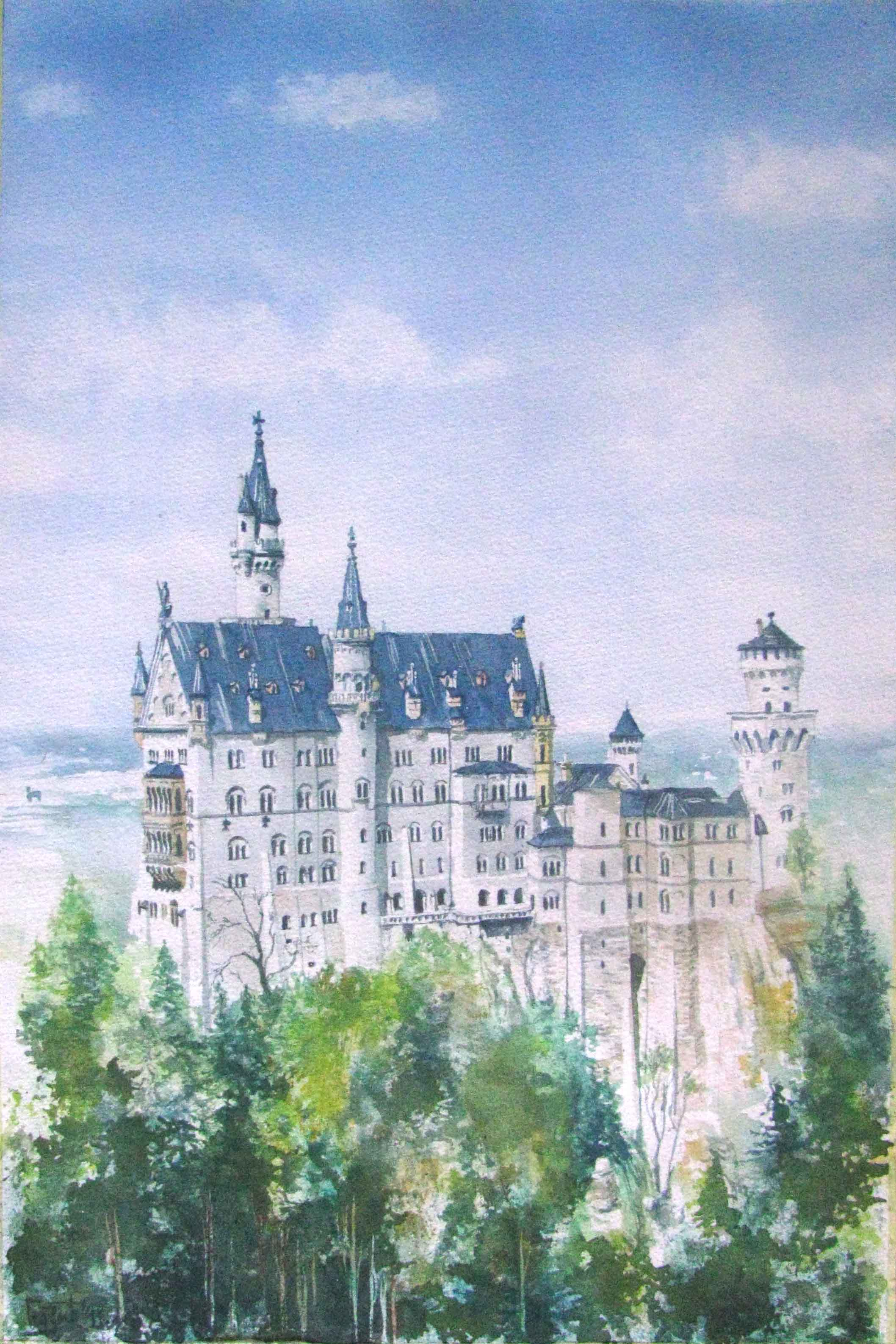 Neuschwanstein Castle Watercolor On Paper Glozic Milan