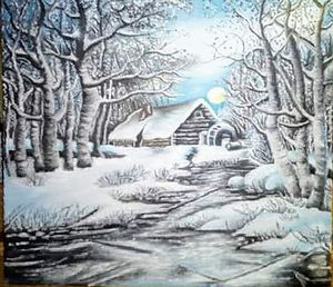 Old freezing watermill