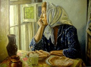 Old woman at the table