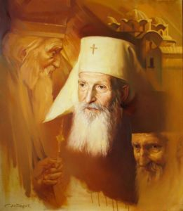 Patriarch Pavle 3 faces, portrait