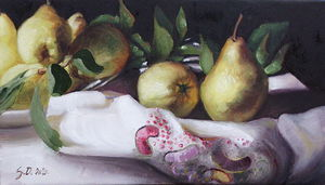 Pears- oil on canvas 20x35cm
