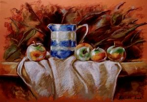 Pitcher and apples