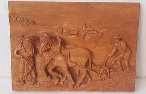 Plowman and horses | Handmade| Carved | linden