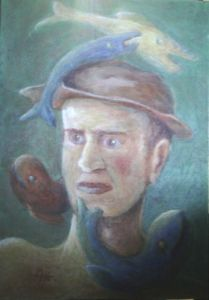 Portrait with the hat among Fishes