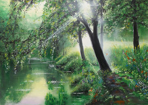 Ray, forest and river