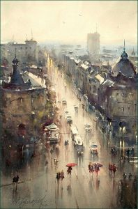 Resavska street, rainy day..