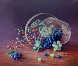Rosehips and grapes- oil on canvas 50x60cm