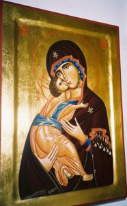 Egg tempera on Wood 'Madonna and Christ Child' by Jevtic Ljiljana