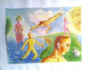 Oil on Paper 'Figures and Portraits in  the  Landscape' by Zivanovic Aleksandar