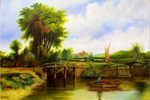 Oil on Canvas 'Summer Landscape' by Momir Maksimovic