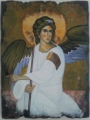 Oil on Wood 'white angel' by Pavlovic Dragan Dragoni