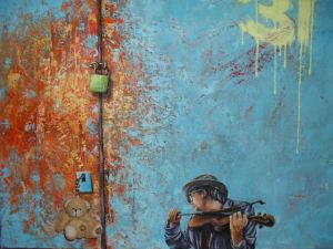 Oil on Canvas 'violinista' by Bajic Ratko