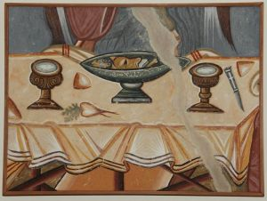 Serbia, Dj.Stubovi, Holy Trinity, detail- Table with food, copy of the fresco