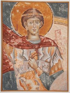 Serbia, Donja Kamenica, The St. Dmitri on a horse, detail, copy of fresco