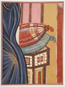 Serbia, Mileseva, Annunciation, detail- Virgin`s throne with cushions,copy of th