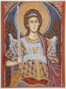 Serbia, Monastery Resava, The Archangel Michael, detail, kopi of fresco
