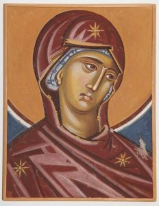 Serbia, Pec, Patriarchy, Composition of donor, detail- Virgin Mary, copy of the