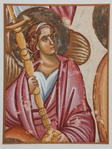 Serbia, Sopocani, Angel with candlestick, copy of the fresco
